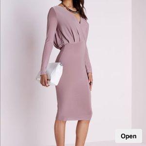Missguided deep v mauve slinky midi dress